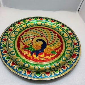 Peacock steel platter, cookie tray, nut tray